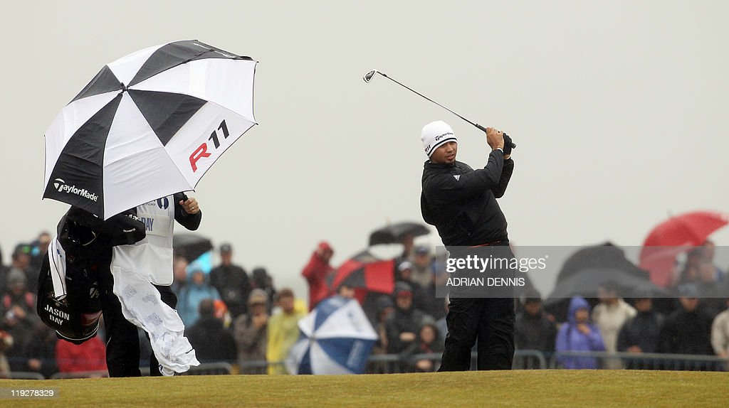 Australian golfer <a gi-track='captionPersonalityLinkClicked' href=/galleries/search?phrase=Jason+Day+-+Golfeur&family=editorial&specificpeople=4534484 ng-click='$event.stopPropagation()'>Jason Day</a> tees off from the 2nd tee on the third day of the 140th British Open Golf championship at Royal St George's in Sandwich, Kent, south east England, on July 16, 2011.