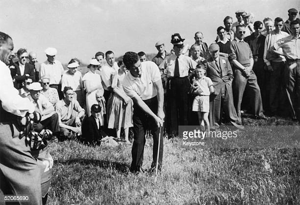 Australian golfer Peter Thomson playing on the 16th green during the Open Golf Championships at St Andrews 5th July 1957