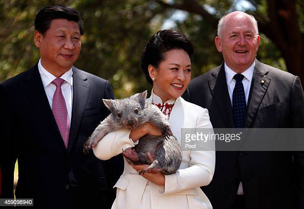 Australian Governor General Peter Cosgrove stands with China's President Xi Jinping and his wife Peng Liyuan as she holds a wombat in the grounds of...