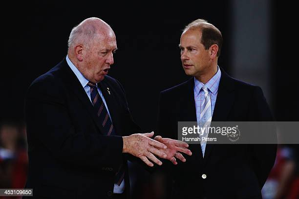 Australian Governor general Sir Peter Cosgrove talks with Prince Edward Earl of Wessex waits prior to presenting the medals following the gold medal...