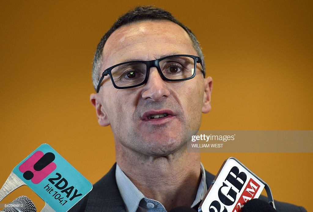 Australian Greens leader Richard Di Natale speaks at a press conference as the party announces it will launch a tax on sugary sweetened beverages if...