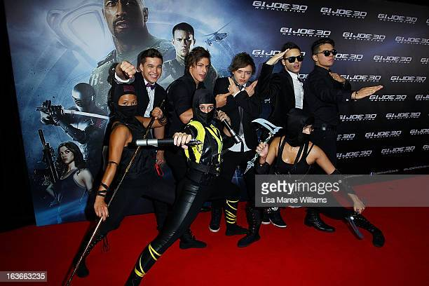Australian group 'The Collective' pose with martial arts performers during the 'GIJoe Retaliation' Australian Premiere at Event Cinemas George Street...