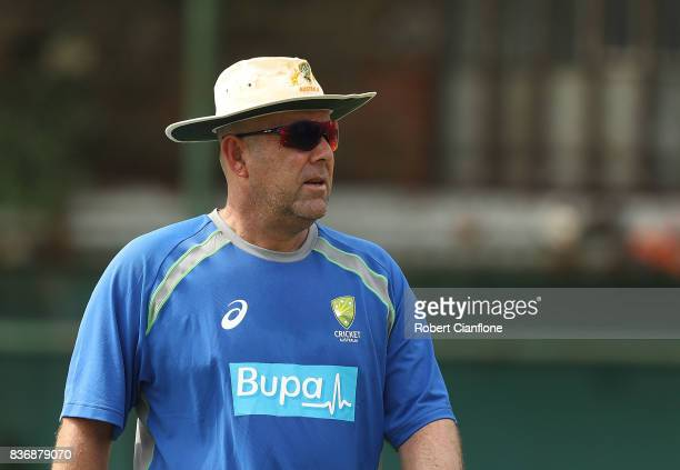 Australian Head Coach Darren Lehmann looks on during an Australian Test team nets session at SherE Bangla National Cricket Stadium on August 22 2017...