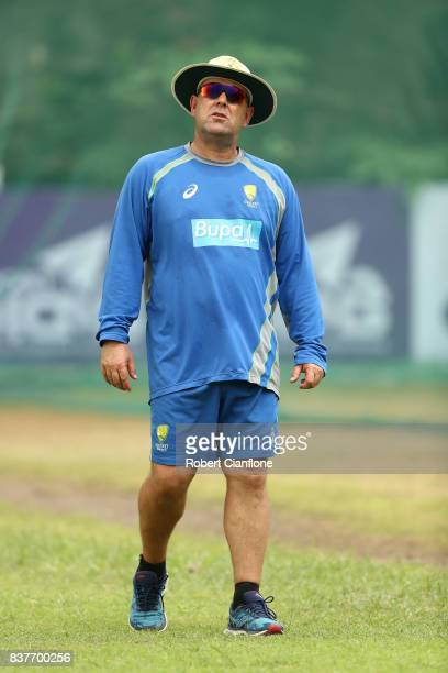 Australian Head Coach Darren Lehmann looks on during an Australian Test team nets session at SherE Bangla National Cricket Stadium on August 23 2017...