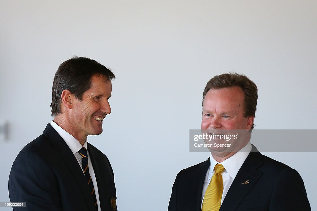 Australian head coach Robbie Deans talks to Australian Rugby CEO Bill Pulver during an Australian Wallabies ARU press conference at Museum of Contemporary Art on May 19, 2013 in Sydney, Australia.