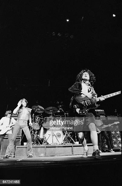 Australian heavy rock group AC/DC performing in New York August 1979 Left to right Malcolm Young Bon Scott Phil Rudd Angus Young and Cliff Williams