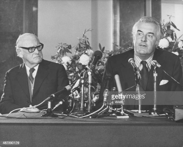 Australian High Commission John Armstrong and Australian Prime Minister Gough Whitlam during a press conference Australia House London April 25th 1973