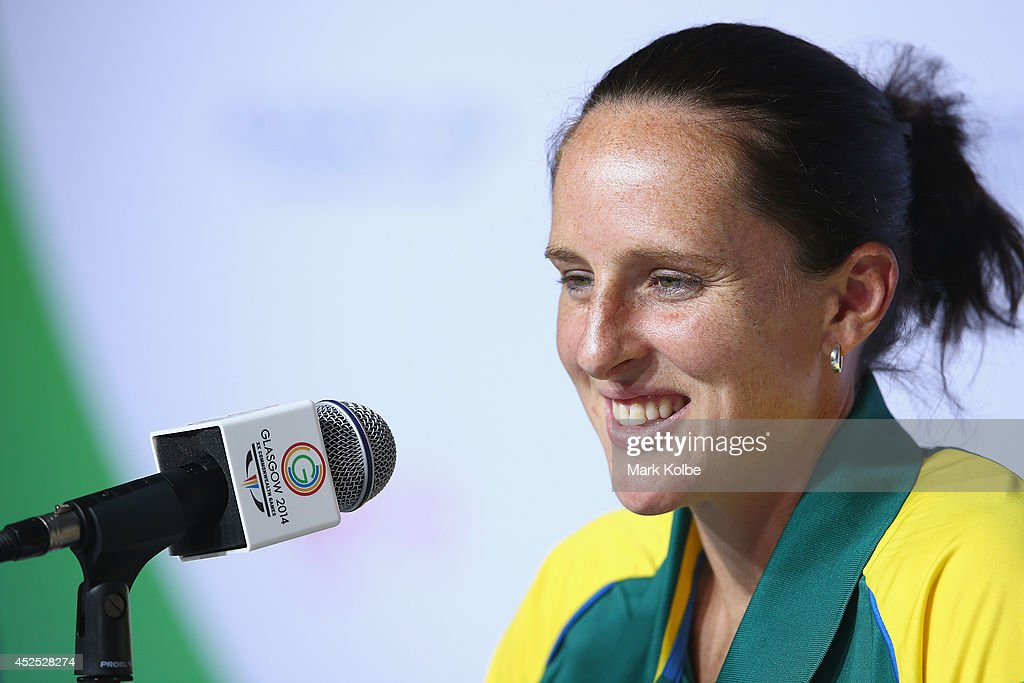 Australian hockey player Madonna Blyth speaks to the media during a press conference at the Athletes Village ahead of 20th Glasgow Commonwealth Games...