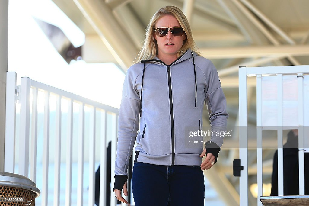 Australian hurdles athlete <a gi-track='captionPersonalityLinkClicked' href=/galleries/search?phrase=Sally+Pearson+-+Athlete&family=editorial&specificpeople=200724 ng-click='$event.stopPropagation()'>Sally Pearson</a> arrives to speak to media during a press conference on June 30, 2016 in Gold Coast, Australia. Pearson yesterday withdrew from the 2016 Rio Olympic Games due to a hamstring injury.