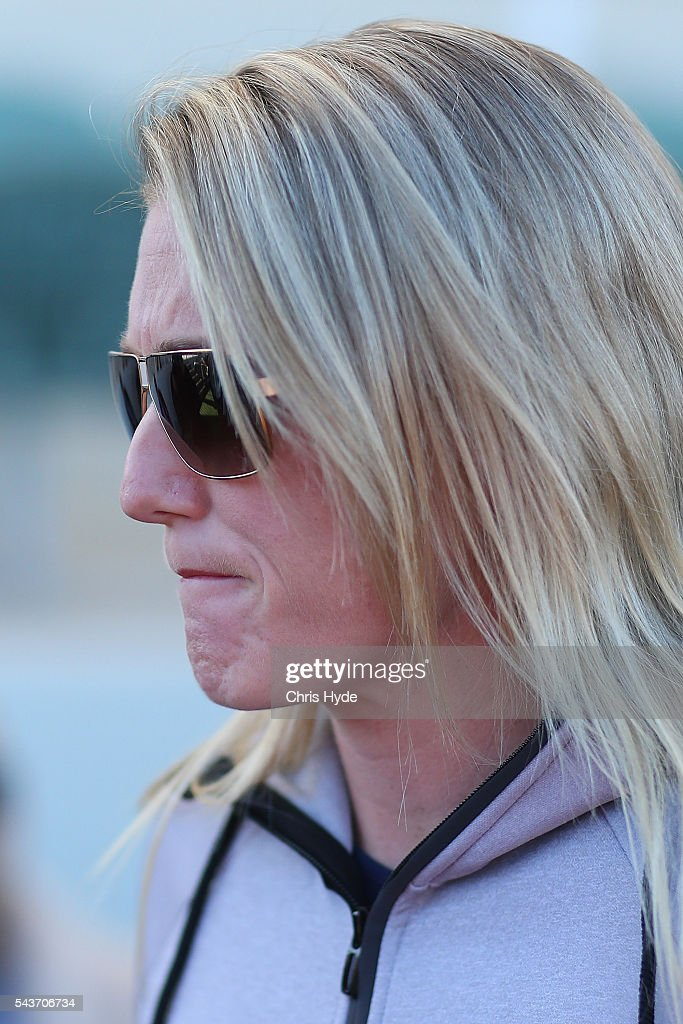 Australian hurdles athlete <a gi-track='captionPersonalityLinkClicked' href=/galleries/search?phrase=Sally+Pearson+-+Athlete&family=editorial&specificpeople=200724 ng-click='$event.stopPropagation()'>Sally Pearson</a> leaves after speaking to the media during a press conference on June 30, 2016 in Gold Coast, Australia. Pearson yesterday withdrew from the 2016 Rio Olympic Games due to a hamstring injury.