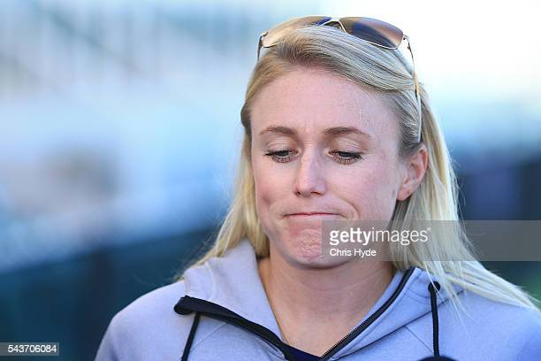 Australian hurdles athlete Sally Pearson speaks to the media during a press conference on June 30 2016 in Gold Coast Australia Pearson yesterday...