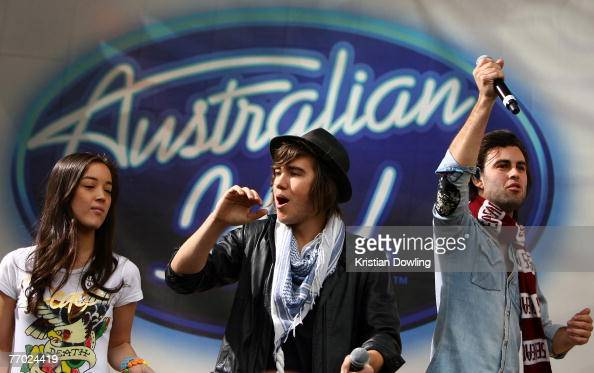Australian Idol Top 12 Finalists Lana Krost Matt Corby and Daniel Mifsud perform during an Australian Idol Concert at Federation Square on September...