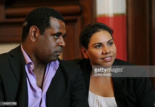 Australian indigenous actors Deborah Mailman and Jimi Bani are interviewed following the Sydney Film Festival Program launch in Sydney on May 9 2012...
