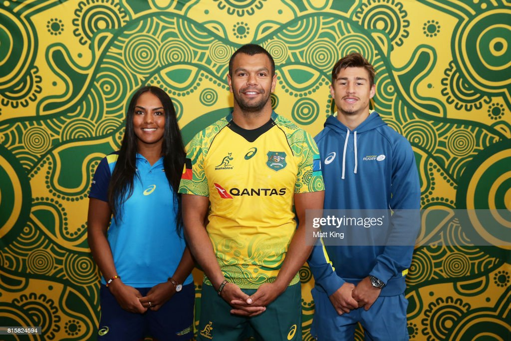 Australian Indigenous rugby players (L-R) Mahalia Murphy, Kurtley Beale and Harrison Goddard pose during the Wallabies Indigenous Jersey Launch at the National Centre of Indigenous Excellence on July 17, 2017 in Sydney, Australia.