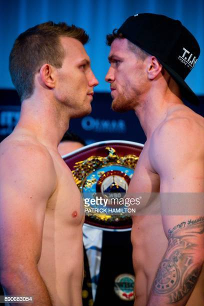 Australian Jeff Horn faces off with British opponent Gary Corcoran during the prefight weighin at the Brisbane Convention Centre in Brisbane on...
