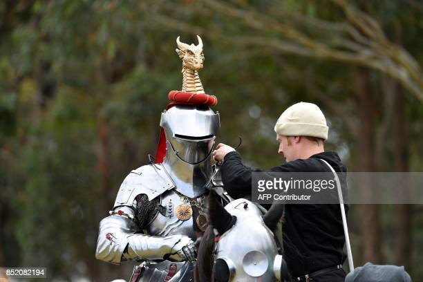 Australian jouster Phillip Leitch gets ready on the back of his horse for the inaugural World Jousting Championship at the St Ives Medieval Faire in...