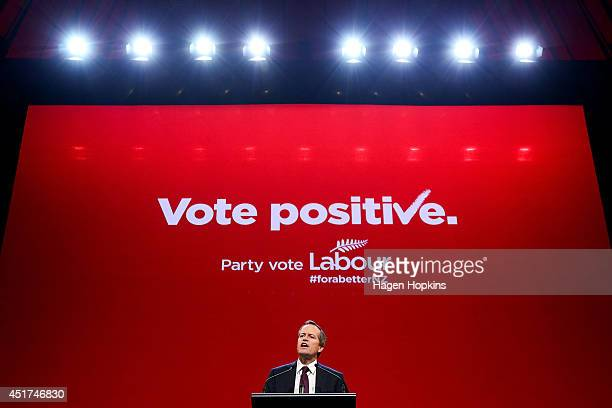 Australian Labor leader Bill Shorten delivers a speech during New Zealand Labour Party Congress 2014 at Michael Fowler Centre on July 6 2014 in...