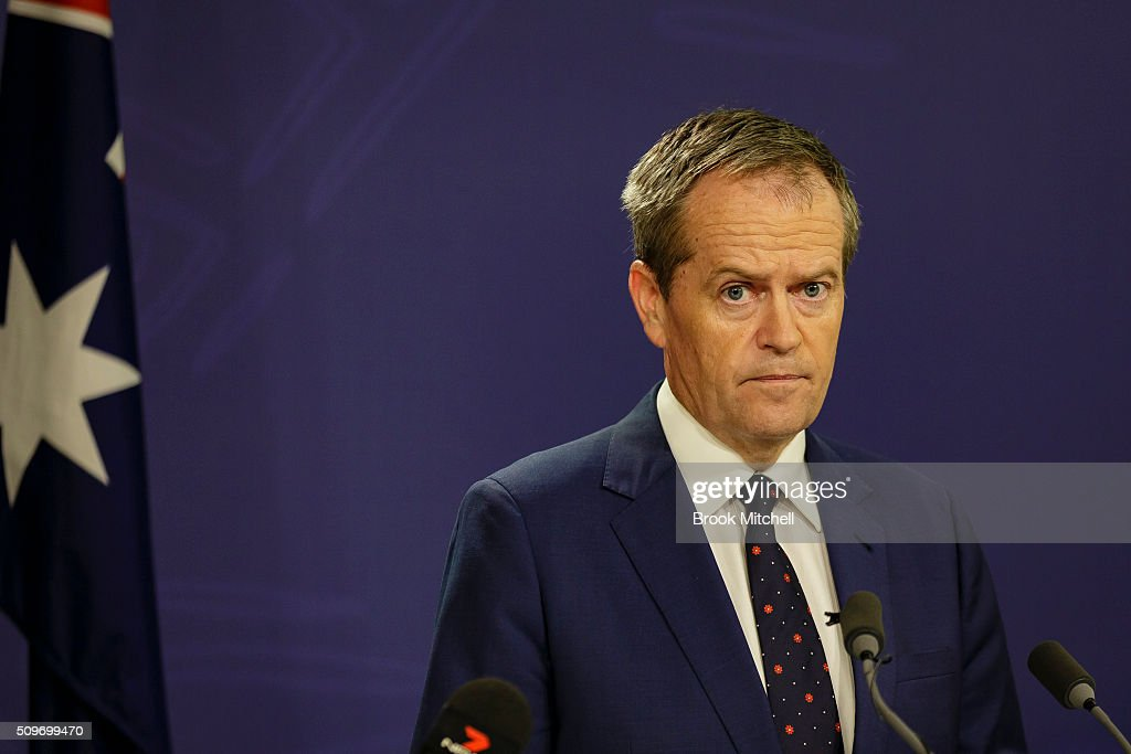 Australian Labor Party Leader <a gi-track='captionPersonalityLinkClicked' href=/galleries/search?phrase=Bill+Shorten&family=editorial&specificpeople=606712 ng-click='$event.stopPropagation()'>Bill Shorten</a> on February 12, 2016 in Sydney, Australia. Human services minister Stuart Robert was stood down from ministerial duties following an investigation into a trip to China in 2014.