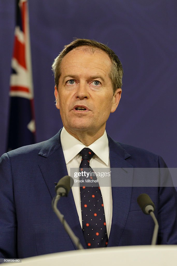 Australian Labor Party Leader Bill Shorten on February 12, 2016 in Sydney, Australia. Human services minister Stuart Robert was stood down from ministerial duties following an investigation into a trip to China in 2014.