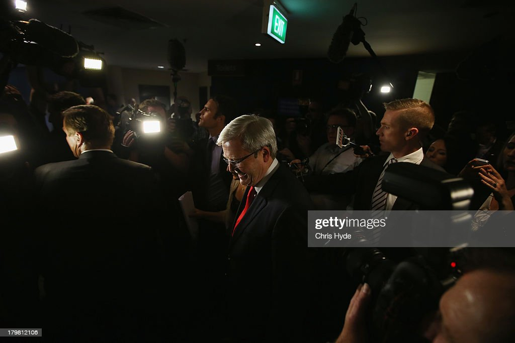 Australian Labor Party Leader Kevin Rudd leaves the stage after he concedes defeat in the 2013 Australian election at The Gabba on September 7 2013...