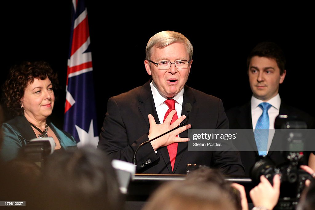Australian Labor Party Leader Kevin Rudd speaks to supporters on stage as he concedes defeat in the 2013 Australian election at The Gabba on...