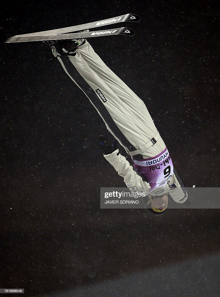 Australian Laura Peel competes during Ladies' FreeStyle Aerials final race at the Snowboarding and Free Style World Cup Test Event at the Snowboard and Free Style Centre in Rosa Khutor near the Russian Black Sea resort of Sochi on February 17, 2013. Chinese Mengtao Xu won the race ahead of Australian Laura Peel and Swiss Tanja Schaerer.