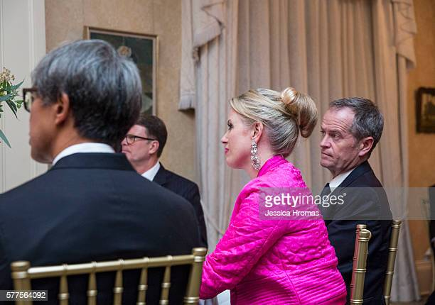 Australian Leader of the Opersition Bill Shorten and his wife Chloe Shorten attend a dinner for US VicePresident Joe Biden at Admiralty House...