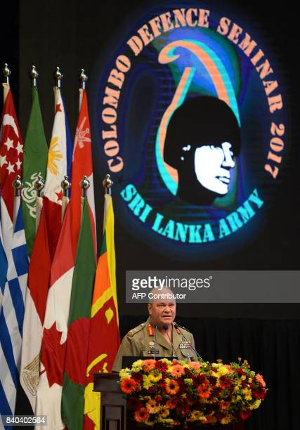 Australian Major General Roger Noble assigned as deputy commander US Army Pacific addresses a defence seminar in Sri Lankas capital Colombo on August...