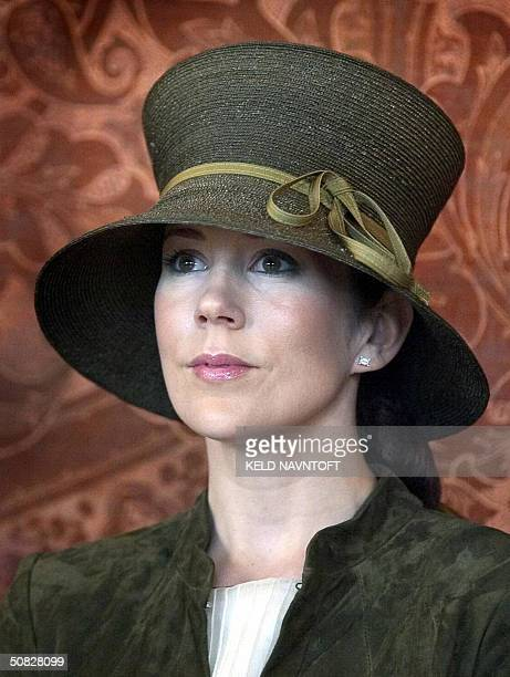 Australian Mary Donaldson the fiancee of Danish Crown Prince Frederik attends a reception at Copenhagen City Hall 12 May 2004 The city's wedding gift...