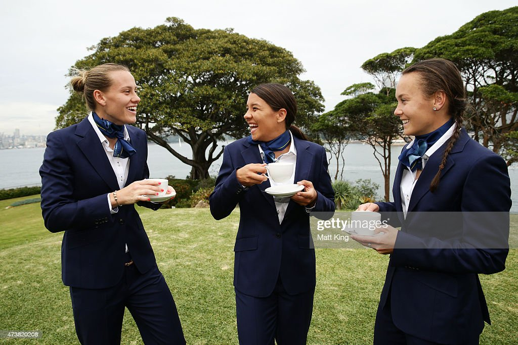 Australian Matildas players Emily van Egmond Samantha Kerr and Caitlin Foord enjoy cups of tea during the Australian Matildas GovernorGeneral...