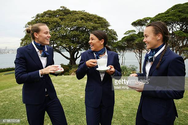Australian Matildas players Emily van Egmond Samantha Kerr and Caitlin Foord enjoy cups of tea during the Australian Matildas GovernorGeneral...