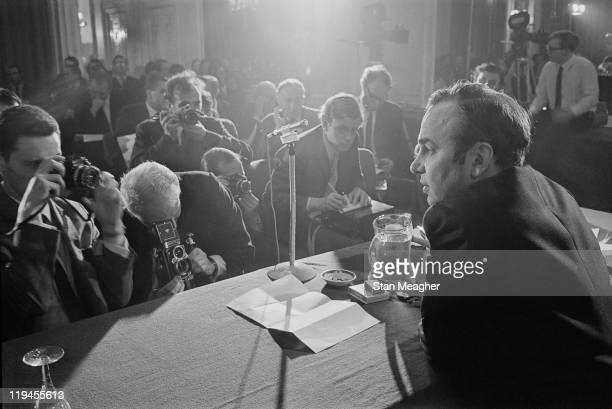 Australian media mogul Rupert Murdoch at a press conference in London 25th October 1968
