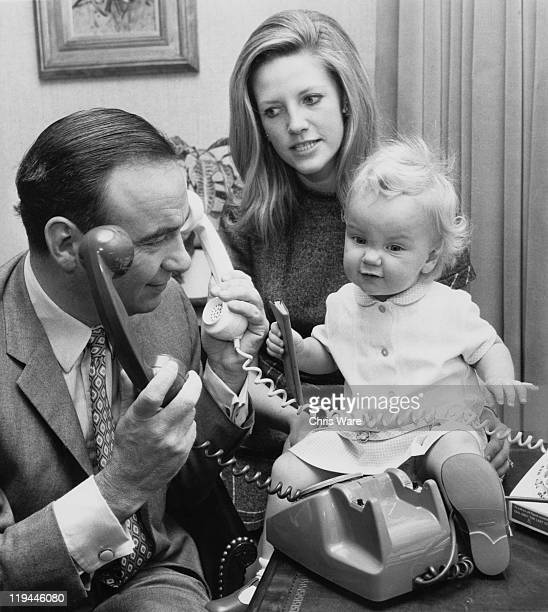 Australian media mogul Rupert Murdoch with his second wife Anna Torv and their 14month old daughter Elisabeth at their home in Sussex Gardens London...