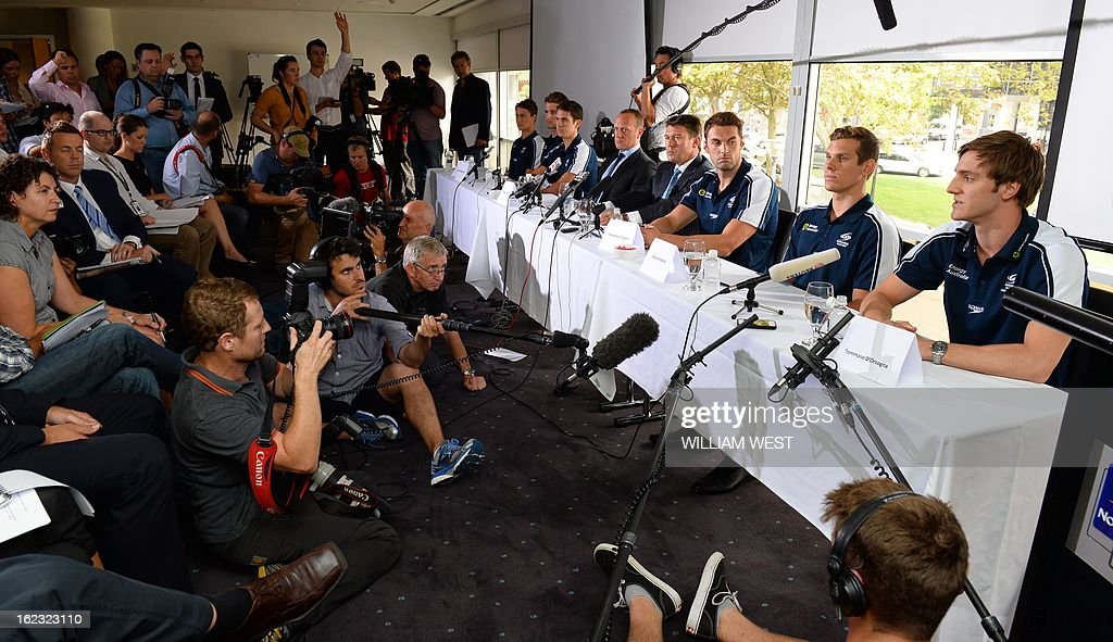 Australian members of Australia's much-hyped men's Olympic swim relay team dubbed the 'Weapons of Mass Destruction', speak at a press conference after owning up to taking part in 'stupid' pre-Games pranks, in Sydney on February 22, 2013. Members of the 4x100m freestyle relay team led by James Magnussen admitted taking Stilnox sleeping tablets at a training camp in Manchester and then making random prank calls and knocking on their team mates doors. AFP PHOTO/William WEST