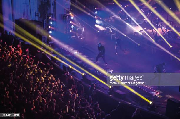 Australian metalcore group Parkway Drive performing live on stage at the O2 Academy Brixton in London on April 8 2017