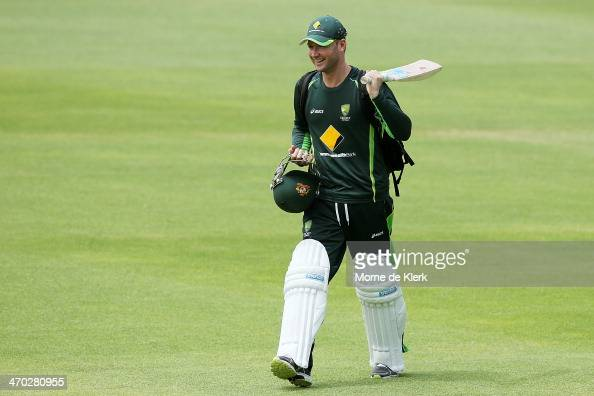 Australian Michael Clarke heads to the nets during an Australia nets session at St George's Park Cricket Stadium on February 19 2014 in Port...