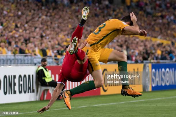 Australian midfielder Tomas Rogic goes up for the ball at the Soccer World Cup Qualifier between Australia and Syria on October 10 2017