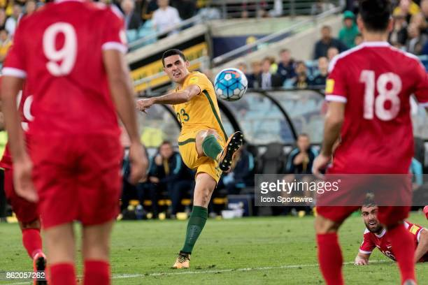 Australian midfielder Tomas Rogic has a shot at goal at the Soccer World Cup Qualifier between Australia and Syria on October 10 2017 at Stadium...