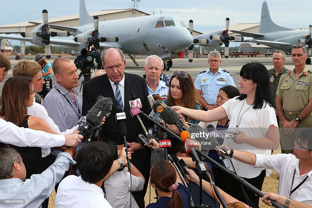 Australian Minister for Defence David Johnston addresses the media during a visit to RAAF Base Pearce on March 25 2014 in Perth Australia The...