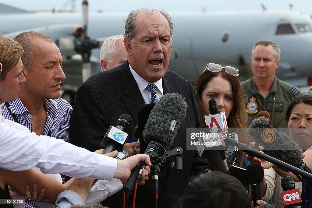 Australian Minister for Defence David Johnston talks to the media during a visit to RAAF Base Pearce on March 25 2014 in Perth Australia The minister...