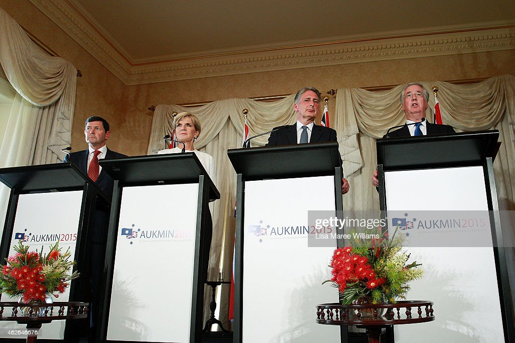 Australian Minister for Defence, Kevin Andrews, Australian Minister for Foreign Affairs, <a gi-track='captionPersonalityLinkClicked' href=/galleries/search?phrase=Julie+Bishop&family=editorial&specificpeople=1198450 ng-click='$event.stopPropagation()'>Julie Bishop</a>, The UK Secretary of State for Foreign and Commonwealth Affairs, <a gi-track='captionPersonalityLinkClicked' href=/galleries/search?phrase=Philip+Hammond&family=editorial&specificpeople=2486715 ng-click='$event.stopPropagation()'>Philip Hammond</a> and UK Secretary of State for Defence, <a gi-track='captionPersonalityLinkClicked' href=/galleries/search?phrase=Michael+Fallon+-+Politician&family=editorial&specificpeople=13243418 ng-click='$event.stopPropagation()'>Michael Fallon</a> address the media during a press conference at Admiralty House on February 2, 2015 in Sydney, Australia. The UK Secretary of State for Foreign and Commonwealth Affairs, <a gi-track='captionPersonalityLinkClicked' href=/galleries/search?phrase=Philip+Hammond&family=editorial&specificpeople=2486715 ng-click='$event.stopPropagation()'>Philip Hammond</a> and the UK Secretary of State for Defence, <a gi-track='captionPersonalityLinkClicked' href=/galleries/search?phrase=Michael+Fallon+-+Politician&family=editorial&specificpeople=13243418 ng-click='$event.stopPropagation()'>Michael Fallon</a>, are currently in Australia for the AUKMIN foreign affairs and defence meetings.