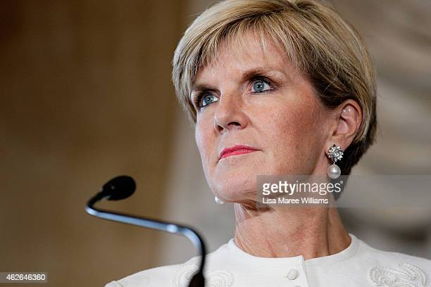 Australian Minister for Foreign Affairs Julie Bishop addresses the media during a press conference for AUKMIN at Admiralty House on February 2 2015...