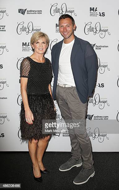 Australian Minister for Foreign Affairs Julie Bishop and Ian Thorpe arrive at the Collette Dinnigan 'Unlaced' Exhibition launch at the Museum of...