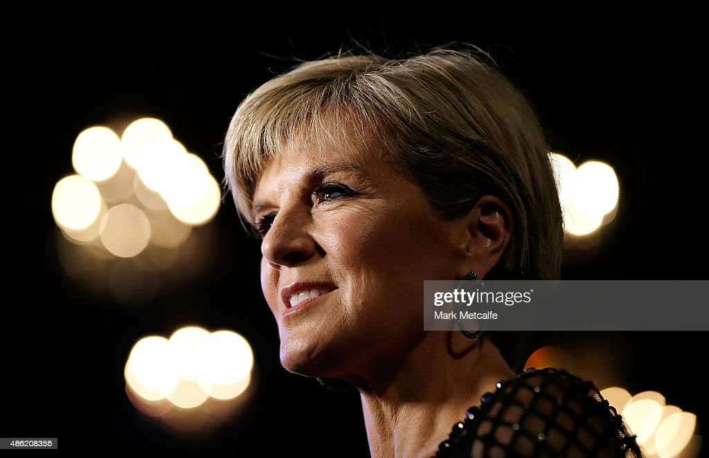 Australian Minister for Foreign Affairs, <a gi-track='captionPersonalityLinkClicked' href=/galleries/search?phrase=Julie+Bishop&family=editorial&specificpeople=1198450 ng-click='$event.stopPropagation()'>Julie Bishop</a> arrives at the Collette Dinnigan 'Unlaced' Exhibition launch at the Museum of Applied Arts & Sciences on September 2, 2015 in Sydney, Australia.