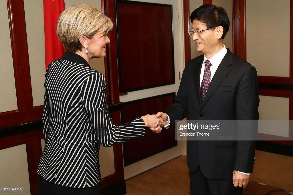 Australian Minister for Foreign Affairs Julie Bishop greets Central Commission on Political and Legal Affairs, Secretary Meng Jianzhu at the inaugural Australia-China High-level Security Dialogue at Shangri-La Hotel on April 21, 2017 in Sydney, Australia. It is the first time representatives from the two countries have met for high-level security talks.