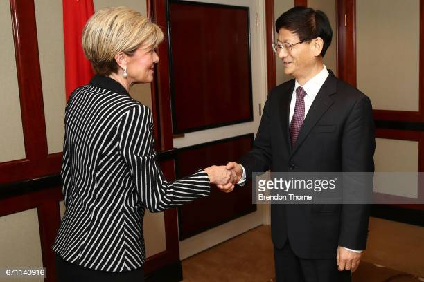 Australian Minister for Foreign Affairs Julie Bishop greets Central Commission on Political and Legal Affairs Secretary Meng Jianzhu at the inaugural...