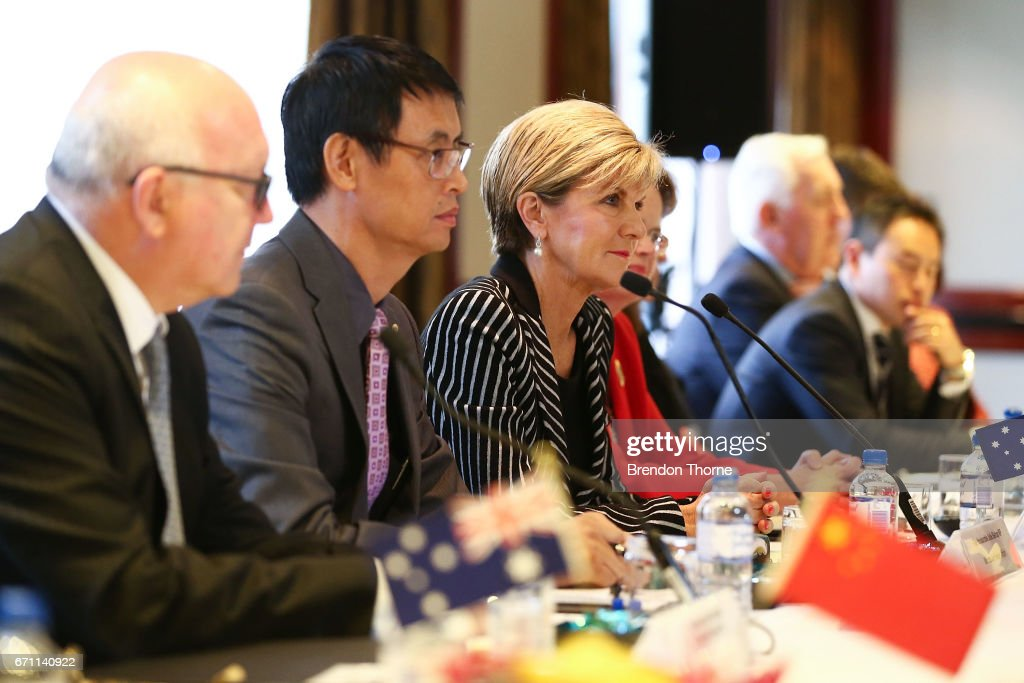 Australian Minister for Foreign Affairs Julie Bishop speaks at the inaugural Australia-China High-level Security Dialogue at Shangri-La Hotel on April 21, 2017 in Sydney, Australia. It is the first time representatives from the two countries have met for high-level security talks.
