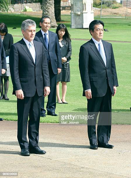 Australian Minister for Foreign Affairs Stephen Smith and Japan's Minister For Foreign Affairs Katsuya Okada take a moment to pause at the State War...