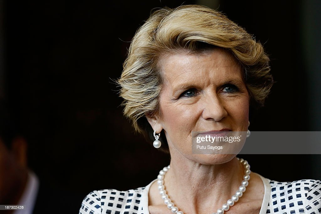 Australian Minister of Foreign Affairs <a gi-track='captionPersonalityLinkClicked' href=/galleries/search?phrase=Julie+Bishop&family=editorial&specificpeople=1198450 ng-click='$event.stopPropagation()'>Julie Bishop</a> talks at a press conference during Bali Democracy Forum VI on November 8, 2013 in Denpasar, Bali, Indonesia. This year's Bali Democracy Forum has attracted increased attention as Australia's Foreign Minister <a gi-track='captionPersonalityLinkClicked' href=/galleries/search?phrase=Julie+Bishop&family=editorial&specificpeople=1198450 ng-click='$event.stopPropagation()'>Julie Bishop</a> returns to Indonesia amid controversy surrounding Australia's involvement in 'intelligence-gathering' activities. The forum is held every year and aims to 'enhance democratic participation in a changing world'.