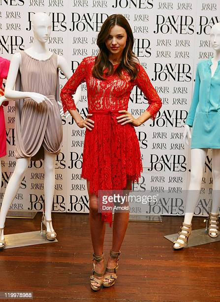 Australian Model and David Jones Ambassador Miranda Kerr poses for the media at David Jones Elizabeth Street Store on July 28 2011 in Sydney...